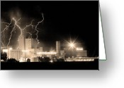 Lightning Bolt Pictures Greeting Cards - Budweiser Lightning Thunderstorm Moving Out BW Sepia Panorama Greeting Card by James Bo Insogna