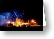 Lightning Bolt Pictures Greeting Cards - Budweiser Lightning Thunderstorm Moving Out Crop Greeting Card by James Bo Insogna