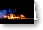 Lightning Bolt Pictures Greeting Cards - Budweiser Lightning Thunderstorm Moving Out Greeting Card by James Bo Insogna