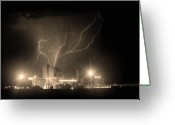 Lightning Bolt Pictures Greeting Cards - Budweiser Powered by Lightning Sepia Greeting Card by James Bo Insogna