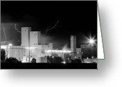 Unusual Lightning Greeting Cards - Budwesier Brewery Lightning Thunderstorm Image 3918  BW Pano Greeting Card by James Bo Insogna