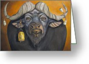 Horns Painting Greeting Cards - Buffalo Bells Greeting Card by Leah Saulnier The Painting Maniac