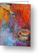 Textured Artwork Greeting Cards - Buffalo Bison wild life oil painting print Greeting Card by Svetlana Novikova