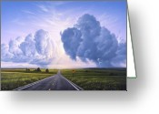 Western Sky Greeting Cards - Buffalo Crossing Greeting Card by Jerry LoFaro