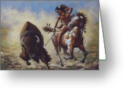 Buffalo Painting Greeting Cards - Buffalo Hunter Greeting Card by Harvie Brown