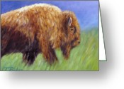 Buffalo Greeting Cards - Buffalo in Spring Greeting Card by Theresa Paden