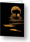 Buffalo Mixed Media Greeting Cards - Buffalo In The Moonlight Greeting Card by Shane Bechler