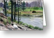 Buffalo Painting Greeting Cards - Buffalo in Yellowstone Greeting Card by Donald Maier