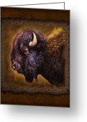 Buffalo Painting Greeting Cards - Buffalo Lodge Greeting Card by JQ Licensing