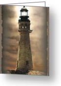 Photography Painting Greeting Cards - Buffalo Main Lighthouse Greeting Card by Gina Femrite