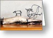 Drawing Sculpture Greeting Cards - Buffalo Mothers Greeting Card by Bud Bullivant