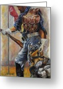 Buffalo Painting Greeting Cards - Buffalo Soldier Outfitted Greeting Card by Harvie Brown