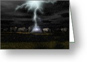 Amimal Greeting Cards - Buffalo Storm Greeting Card by Walter Colvin