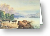 Thomas Moran Greeting Cards - Buffalo Watering Greeting Card by Thomas Moran