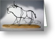 Cave Sculpture Greeting Cards - Buffalo Wire Sculpture Greeting Card by Bud Bullivant