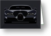 Dark Greeting Cards - Bugatti Veyron Dark Greeting Card by Michael Tompsett