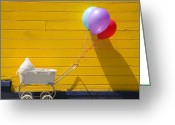 Balloons Greeting Cards - Buggy and yellow wall Greeting Card by Garry Gay