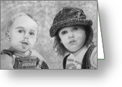 Graphite Mixed Media Greeting Cards - Bugle Boy and Sweet Apple  Greeting Card by Peter Piatt