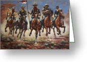 Buffalo Painting Greeting Cards - Bugler And The Guidon Greeting Card by Harvie Brown