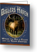 Elk Greeting Cards - Buglers Haven Sign Greeting Card by JQ Licensing
