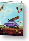 Beetles Greeting Cards - Bugs Greeting Card by Leah Saulnier The Painting Maniac