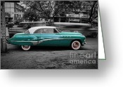 Blue Buick Greeting Cards - Buick Eight Roadmaster Greeting Card by Yhun Suarez