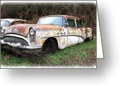 Fifties Buick Greeting Cards - Buick Yard Greeting Card by Steve McKinzie