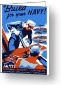 Boat Greeting Cards - Build For Your Navy  Greeting Card by War Is Hell Store