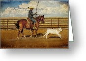 Quarter Horse Photo Greeting Cards - Building a Loop Greeting Card by Karen Slagle