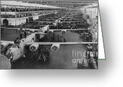 War Production Greeting Cards - Building Bombers, C.1941 Greeting Card by Omikron