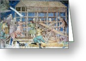 Noah Greeting Cards - Building Noahs Ark, 14th Century Fresco Greeting Card by Sheila Terry