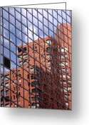 Bricks Greeting Cards - Building reflection Greeting Card by Tony Cordoza