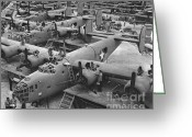 All-metal Greeting Cards - Building the B24 Fleet 1943 BW Greeting Card by Padre Art