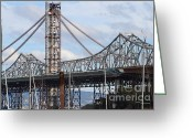 Oakland Bay Bridge Greeting Cards - Building The New San Francisco Oakland Bay Bridge . 7D7774 Greeting Card by Wingsdomain Art and Photography