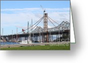 Oakland Bay Bridge Greeting Cards - Building The New San Francisco Oakland Bay Bridge 7D7775 Greeting Card by Wingsdomain Art and Photography
