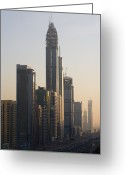 Sheikh Greeting Cards - Buildings On Sheikh Zayed Road Greeting Card by Ed Freeman