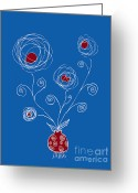 Red Drawings Greeting Cards - Bulb Flower Greeting Card by Frank Tschakert