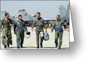 Talking Greeting Cards - Bulgarian And Serbian Air Force Pilots Greeting Card by Anton Balakchiev