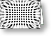 Black White Greeting Cards - Bulge Dots Greeting Card by Michael Tompsett