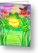 Clouds Drawings Greeting Cards - Bull frog and the Moon Greeting Card by Nick Gustafson