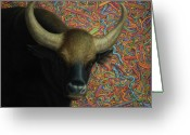 Buffalo Painting Greeting Cards - Bull in a Plastic Shop Greeting Card by James W Johnson
