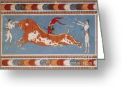 Featured Greeting Cards - Bull-leaping Fresco From Minoan Culture Greeting Card by Photo Researchers