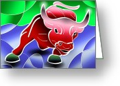 Trader Greeting Cards - Bull Market Greeting Card by Stephen Younts