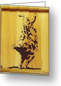 Scroll Saw Sculpture Greeting Cards - Bull-Rider Greeting Card by Russell Ellingsworth
