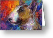 Commissioned Greeting Cards - Bull Terrier Dog painting Greeting Card by Svetlana Novikova
