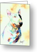 Commission Greeting Cards - Bull Terrier Dog Portrait Greeting Card by Christy  Freeman