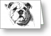 Ink Posters Drawings Greeting Cards - Bulldog-Portrait-Drawing Greeting Card by Gordon Punt