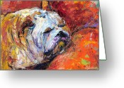 Sleeping Dog Greeting Cards - Bulldog Portrait painting impasto Greeting Card by Svetlana Novikova
