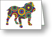 Colorful Digital Art Greeting Cards - Bulldog Greeting Card by Ron Magnes