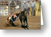 Bull Greeting Cards - Bulldogging at the Rodeo Greeting Card by Christine Till